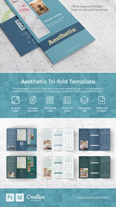 Explore more than ready to use brochure design templates for pamphlets, proposals, reports, and manuals in a variety of styles. Spa Brochure, Creative Brochure, Brochure Design, Brochure Template, Brochure Ideas, Spa Massage, Spa Services, Free Logo, Letter Size