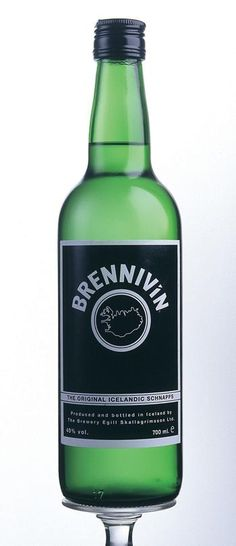 "Brennivin, an Icelandic schnapps made from fermented potato mash and flavored with caraway seeds, also known as ""black death"""