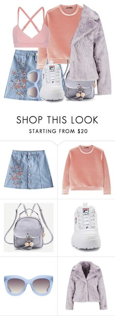 """""""Sky pink"""" by jessicajasr on Polyvore featuring Maje, WithChic, Fila, Alice + Olivia, Live the Process and Boohoo"""