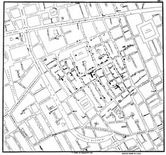 John Snow's 1854 Cholera Map recreated with modern mapping tools (click through for links to data and an interactive map)