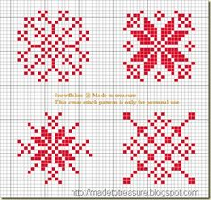 cross stitch snowflakes free pattern from madetotreasure.blogspot.com Please visit the blog! It's fabulous.