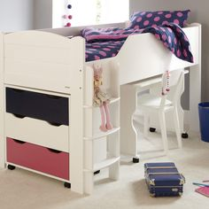Maximize bedroom space with a Juicy Fruits children's mid sleeper bed (left-hand ladder). A space saving super star this bed has bundles of storage. Childrens Mid Sleeper Beds, Childrens Single Beds, Childrens Cabin Beds, Cabin Beds For Kids, White Mid Sleeper, High Sleeper Bed, Wooden Bed With Storage, Under Bed Storage, Sleepover Beds