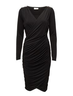 DAY - Day Neat-Zipper detail Long sleeves Shoulder detailing V-neckline in wrap style with asymmetrical closure Elegant and feminine Excellent quality and fit Sophisticated Day Dresses, Dresses For Work, Wrap Style, Shoulder Sleeve, Feminine, Neckline, Closure, Zipper, Detail