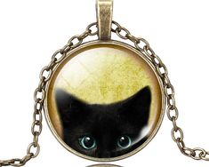 LIEBE ENGEL Unique Necklace Glass Cabochon Silver Bronze Chain Necklace Black Cat Picture Vintage Pendant Necklace For Women * This is an AliExpress affiliate pin. Detailed information can be found on AliExpress website by clicking on the VISIT button Cat Necklace, Necklace Types, Glass Necklace, Pendant Necklace, Compass Necklace, Moon Necklace, Metal Necklaces, Unique Necklaces, Silver Necklaces