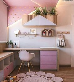 Pink is the perfect color for a girl's bedroom! Discover more pink inspirations