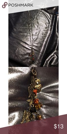 Charm Necklace brown Charm brown necklace, owl, dragonfly, butterfly, & leaf. Jewelry Necklaces