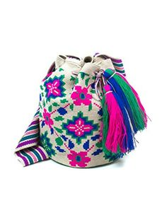 Band handle Wayuu bag hand-knitted on crochet. Each bag is handmade making each piece unique. Small design variations are possible.Measurements: Height: 10 in: Handle: 41 inGuanabana style No. Mochila Crochet, Tapestry Crochet Patterns, Knitted Bags, Knit Bag, Crochet Bags, Tapestry Bag, Embroidered Bag, Pink Blue, Blue Green