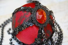 Red And Black Lace Ornament French Vintage Inspired . theornamentgirl.com