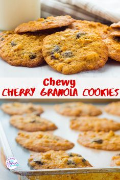 Chewy Cherry Granola Cookies have crispy edges with a chewy center and sweet cherries! Add this yummy recipe to your holiday cookies! Brownie Desserts, Oreo Dessert, Mini Desserts, Chocolate Desserts, Strawberry Desserts, Easy Gluten Free Desserts, Easy Baking Recipes, Easy Desserts, Cookie Recipes
