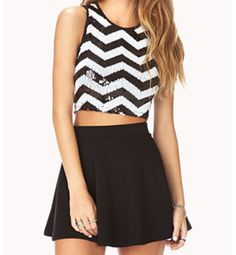 Sequenced crop top with skater skirt.