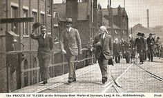 Prince of Wales at Britannia Steel Works Prince of Wales at Britannia Steel Works of Dorman Long & Co., Middlesbrough. 1930 Postcard by Hoo...