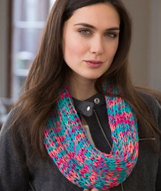 Warm Colorful Cowl Free Knitting Pattern from Red Heart Yarns