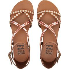Billabong Women's Golden Tidez Sandals ($50) ❤ liked on Polyvore featuring shoes, sandals, flats, desert brown, footwear, ankle wrap sandals, ankle strap sandals, strappy flats, brown flats and billabong sandals