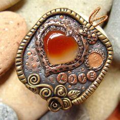 LOVE carnelian copper clay pendant