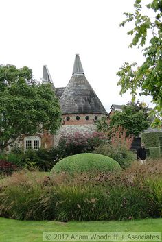 The planting reflects the scale and form of the building at Bury Court.  Another Piet Oudolf garden.