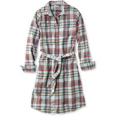 L.L.Bean Button-Front Plaid Shirtdress  Misses ($50) ❤ liked on Polyvore featuring dresses, shirt dress, cotton shirt dress, blue fitted dress, plaid dress, colorful dresses and button front shirt dress