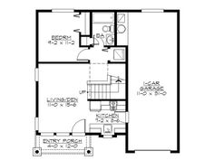 Two-story garage apartment plan with one garage bay for boat storage, 2 bedrooms, 2 baths and laundry closet. Craftsman Bungalow House Plans, Duplex House Plans, Craftsman Bungalows, Best House Plans, House Floor Plans, Craftsman Kitchen, Garage Apartment Plans, Garage Apartments, Tandem Garage