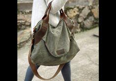 Bolsos de cuero - 15f. Bolso de cuero y lona verde - hecho a mano por UrbanBagStore en DaWanda