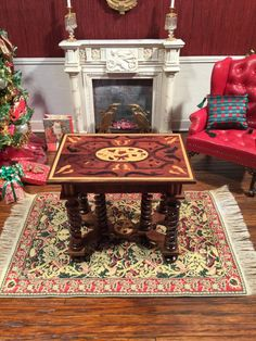 unknown artist - marquetry table; sold on ebay for $129.90