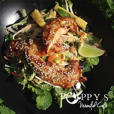 Indonesian Chicken Tenderloin Salad (GF) -Fresh Pineapple + Roasted Peanuts + Bean Shoots + Coriader + Mint & Peanut Coconut Dressing