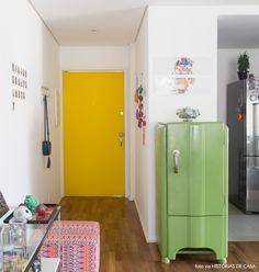yellow door and vintage fridge