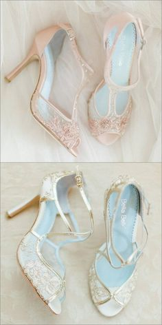 Blush or Champagne? Both please. Feminine, romantic lace wedding shoes by Bella Belle Shoes. #weddingshoes