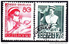 Poland 1953 Nurse postage stamps. My great-grandmother was a nurse & so am I.