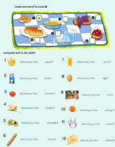 Food Vocabulary, English Vocabulary, English Grammar, Teaching English, Worksheets, Healthy Fruits And Vegetables, English Exam, Likes And Dislikes, Reading Test