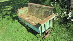 Antique Glider All Metal Vintage Glider Country Chippy Green and White Awesome Colors Old Glider $695