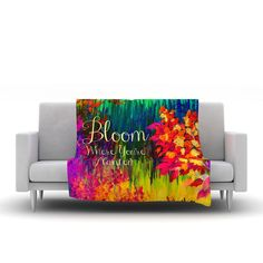 "Ebi Emporium ""Bloom Where You're Planted"" Floral Fleece Throw Blanket from KESS InHouse Colorful Bold Rainbow Abstract Acrylic Textural Fine Art Painting Whimsical Typography Wisdom Floral Garden Good Advice Stylish Neon Home Decor Dorm Bedroom Living Room Modern Blanket #throw #blanket #colorful #rainbow #bloom #flowers #floral #art #fineart #decor #homedecor #dorm #bedroom #bedding #sofa #decoration #typography #font #quote #modern #chic #stylish #fun"