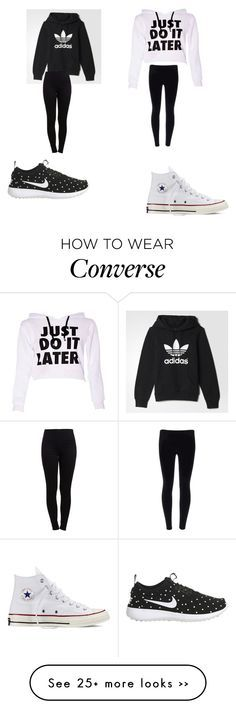 """What top??"" by matthetd on Polyvore featuring adidas, Pieces, NIKE and Converse"