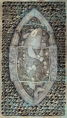 Сoffee morning / april by Elina Zolotareva, via Behance Weird Fish, Underwater Art, Zen Art, Vintage Artwork, Fish Art, Gravure, Creative Art, Illustrations Posters, Printmaking