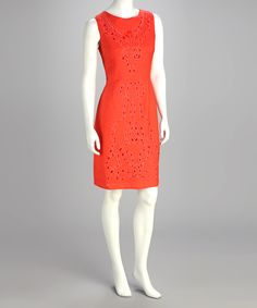 Take a look at this Joy Mark Guava Orange Eyelet Dress on zulily today! Trendy Dresses, Dresses For Work, Summer Dresses, Work Outfits, Skater Dress, Dress Up, High Neck Dress, Eyelet Dress, Frocks