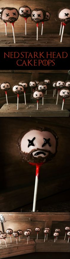 Ned Stark head Game of Thrones cake pops!