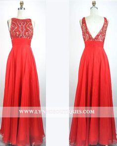 Red Jeweled Bodice Chiffon Long Formal Prom Dress