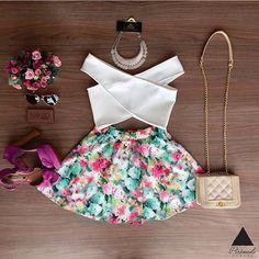 Resultado de imagen para floral a line skirt off shoulder top