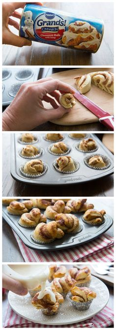 Slice up Grands! Cinnamon Rolls and bake them in mini muffin cups. 12 minutes later, you'll have mini breakfast-friendly cupcakes, ready to be drizzled, decorated and shared!