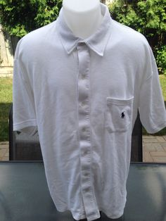 Vintage White Short Sleeve Button Down Polo Sport Polo by MajorDivision on Etsy https://www.etsy.com/listing/241978739/vintage-white-short-sleeve-button-down