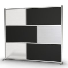 """84"""" wide x 75"""" high Room Divider Black Opaque & Translucent Frosted Hammered Panels"""