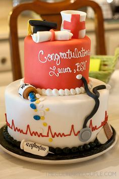 graduation party for the nursing student graduation party for the nursin Nursing Graduation Cakes, Nurse Party, College Graduation Parties, Graduation Party Decor, Graduation Ideas, Bolo Floral, Nursing Students, Nursing Schools, Nursing Student Gifts