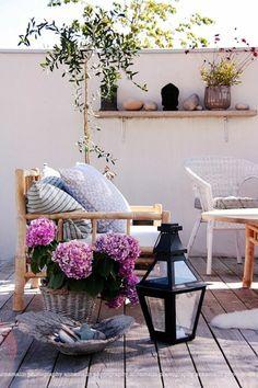 Balkonbepflanzung Ideen sitzecke