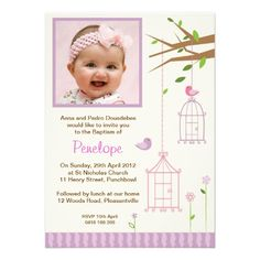 Vintage Bird Cage Christening Invitations