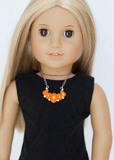 American Girl doll statement necklace  orange by EverydayDollwear, $4.00