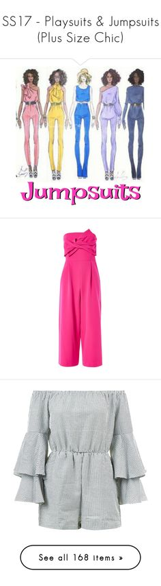 """""""SS17 - Playsuits & Jumpsuits (Plus Size Chic)"""" by foolsuk ❤ liked on Polyvore featuring jumpsuits, pink, going out jumpsuits, bandeau jumpsuit, topshop jumpsuit, jump suit, wide leg jumpsuits, rompers, playsuit romper and pink romper"""