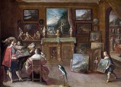 """FRANS  FRANCKEN , """"Una visita al marchante"""" 1636, 29 x 40 cm, Estocolmo, Hallwyl Museum"""