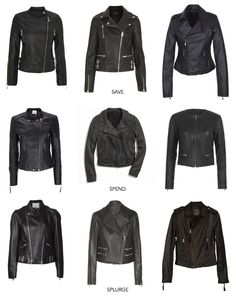 Leather Jackets. I like top left and top right