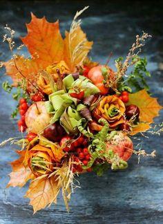 Autumn Crafts, Nature Crafts, Pumpkin Bouquet, Fall Flower Arrangements, Magazine Crafts, Fall Bouquets, Thanksgiving Centerpieces, Diy Arts And Crafts, Fall Flowers