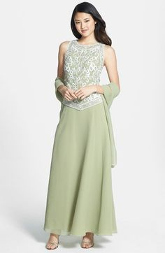 Free shipping and returns on J Kara Beaded Bodice Gown at Nordstrom.com. Sparkling beads jazz up the pretty filigree bodice topping this long and flowy chiffon gown. The matching scarf can be wrapped around the neck or draped across the shoulders for a charming finish. -- Mother of the Bride
