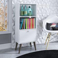 manhattan comfort sami 2 shelf bookcase in white - 2amc129
