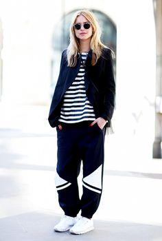 Sporty sweatpants balance with a sharper blazer-style jacket. #streetstyle